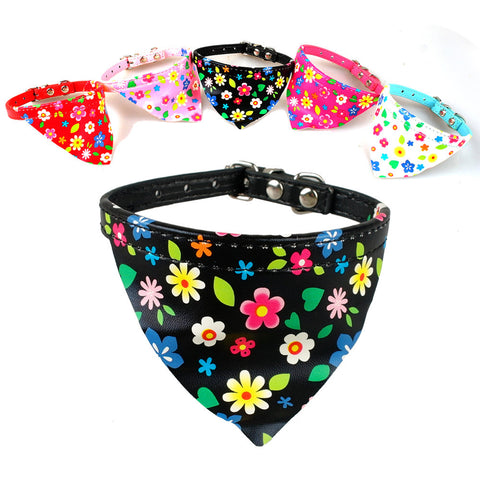 Pu Leather Puppy Bandana Scarf Bibs Dog Collars