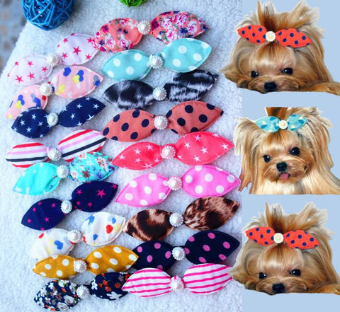 Pet Hair Clips Pearls Cute Bowknot Accessories