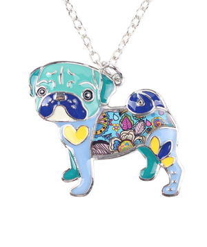 Enamel Pug Dog Choker Necklace Jewelry