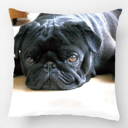 Black Pug Puppy Wedding Decorative Cushion Cover