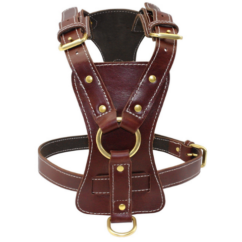 Soft Brown Genuine Leather Pet Harness