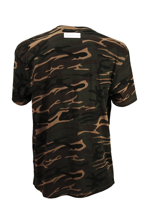 Front of Camo Printed 100% Cotton Streetwear Tee
