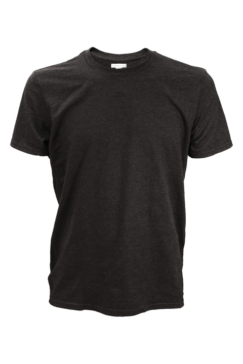 Front of dark grey tee with minimal print