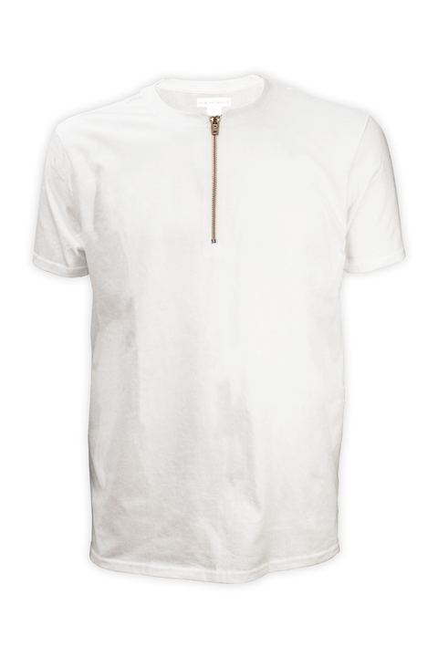 Front of white streetwear zipper vneck