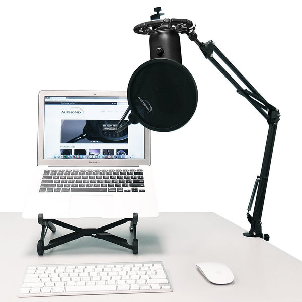 Black Shock Mount For Blue Yeti and Blue Snowball Mics Eliminates Noises From External Vibration