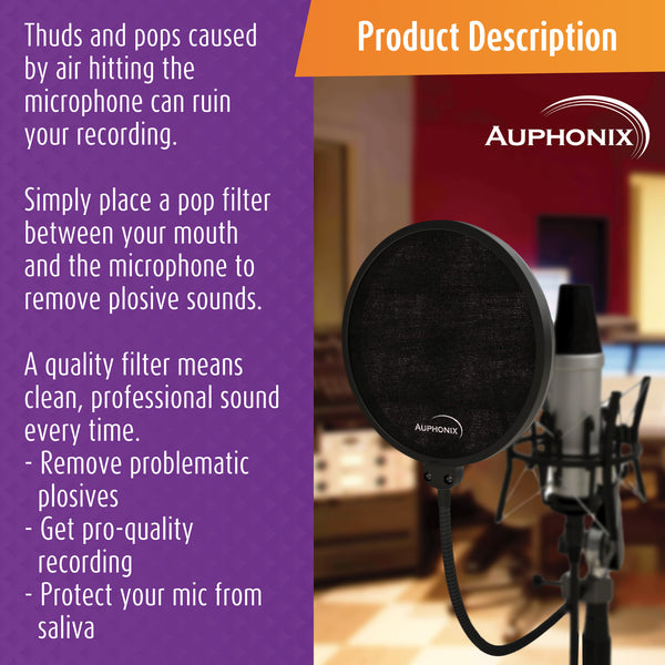 Microphone Pop Filter With 6-inch Double Mesh Screen For A Clean Recording First Time Every Time