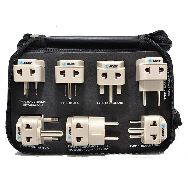 OREI 7 Pcs Worldwide Grounded Travel Adapter Plug Set