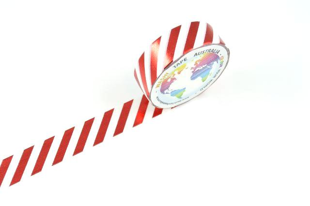 Foil Red Stripes on White (Thin 10mm)