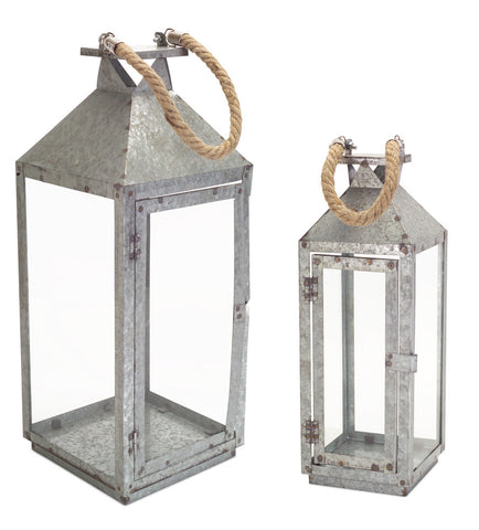 Galvanized Lantern w/Rope Handle (Set of 2)