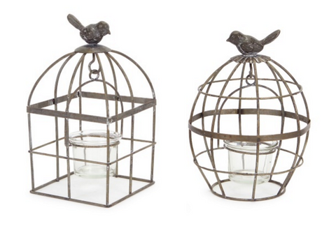 Bird Cage Holders with Votive (Set of 2)