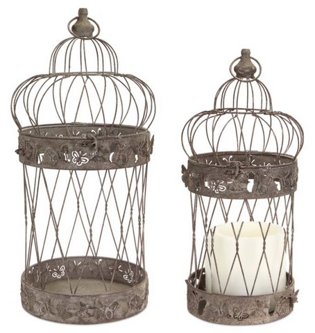 Butterfly Cutout Birdcage Lanterns (Set of 2)