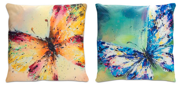 Velour Watercolor Butterfly Pillow (Set of 2)