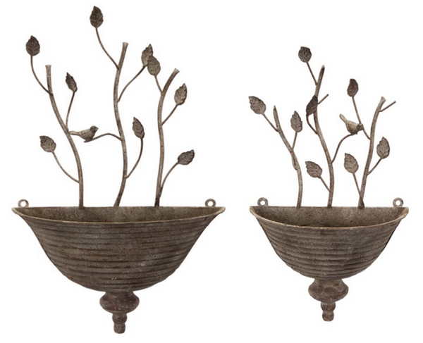 Wall Planter with Birds and Vine (Set of 2)
