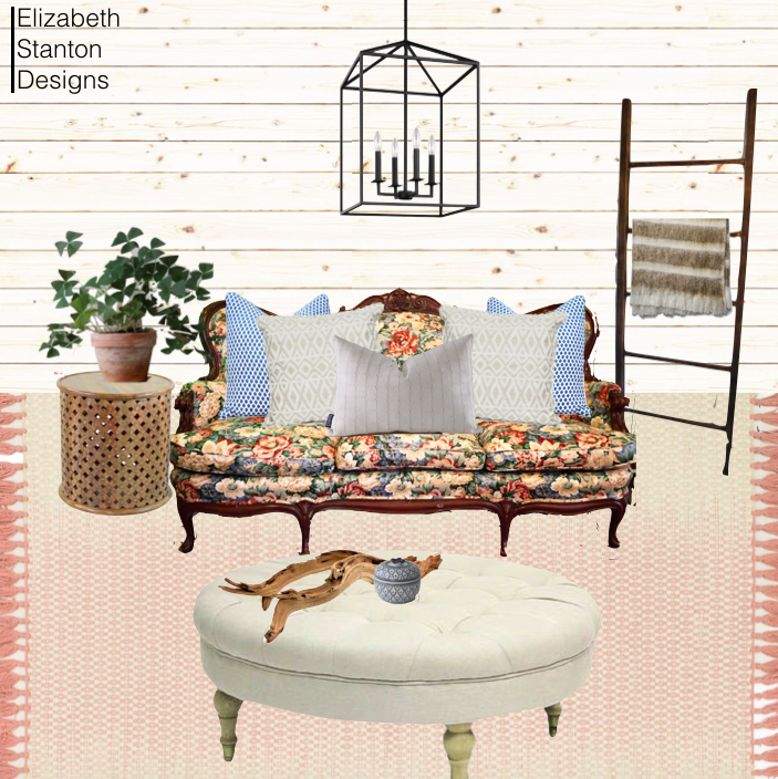 ES8: floral sofa meets modern farmhouse