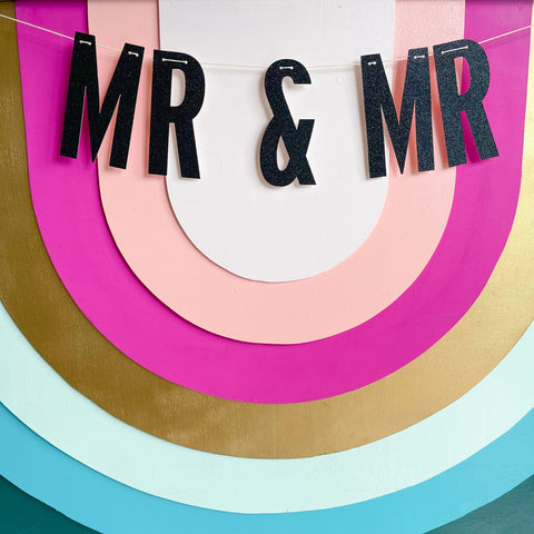 """mr & mr"" glitter banner - Apple & Oak"