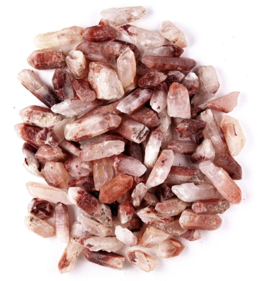 hematoid fire quartz points