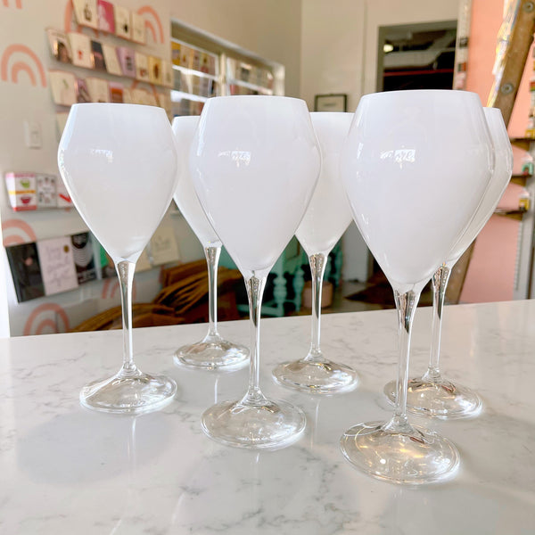 white patent {12oz} stemmed glasses - Apple & Oak