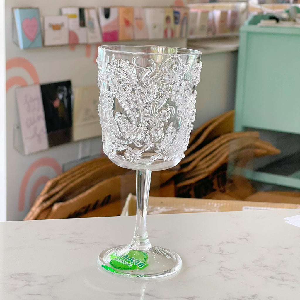 clear paisley {acrylic} wine glass - Apple & Oak
