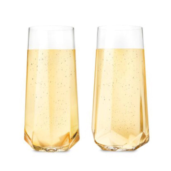 faceted crystal champagne flutes - Apple & Oak