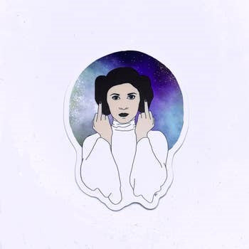 leia middle finger sticker