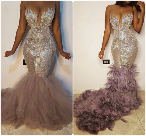 Prom Saffire crystal dress with tulle or extended feather train