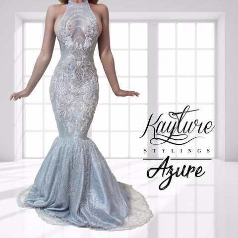Azure Crystal Sequin Trumpet Gown