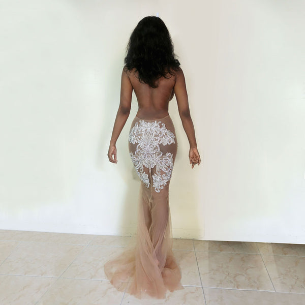 Azure Nude Crystal Gown with or without feather train