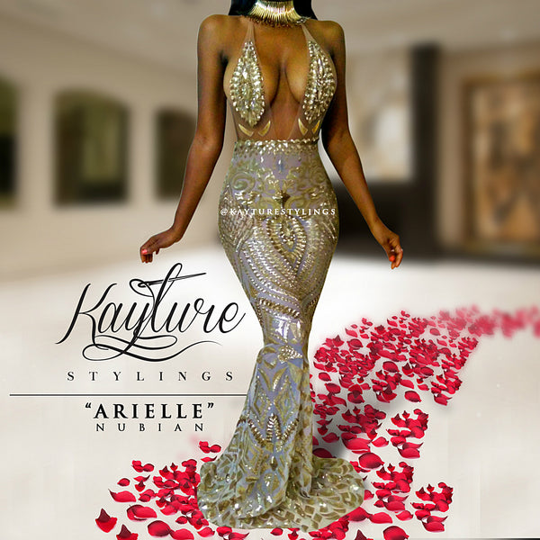 ARIELLE NUBIAN LONG gold mermaid dress