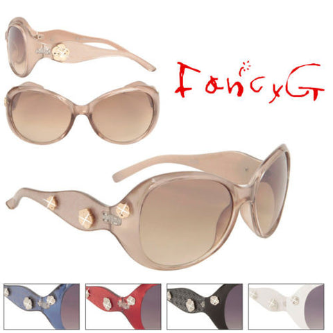 12 Assorted Women Fashion Sunglasses Flowers with Rhinestone UV 400 Protection