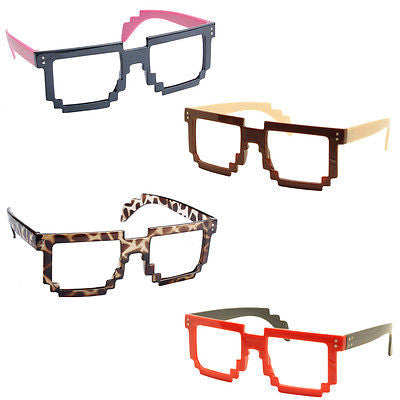 4X Classic Retro 8 Bit Pixel Geek Gamer Style Pixelated Glass Frame No Lens Set2