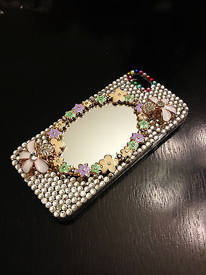 New iPhone 5S iPhone 5 Case Luxury Crystal Diamond Flower Cover with Real Mirror