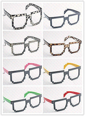 Retro 8 Bit Pixel Geek Gamer Style Pixelated Glass Frame No Lens Costume Cosplay