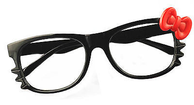 Kids Black Eyewear Glasses Frames Red Bow Tie Kitty Spectacle Costume No Lens