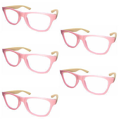 5 x Vintage Inspired Classic Retro Fashion Glass Frame No Lens Pink New
