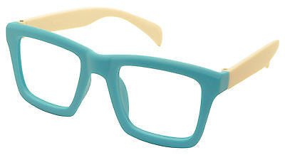 New Fashion Glass Frame Vintage Inspired Classic Eyewear NO LENS Blue