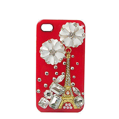 iPhone SE Luxury Handmade Crystal Diamond Flower Tower Red Case for iPhone 5S