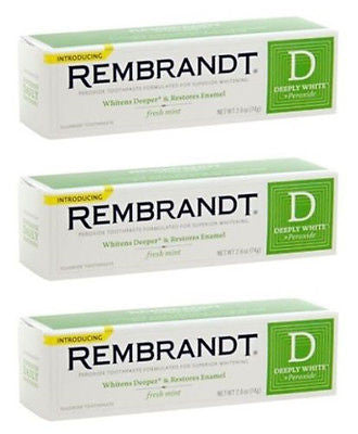 4x Rembrandt Deeply Peroxide Whitening Toothpaste Fluoride Fresh Mint 2.6 oz New