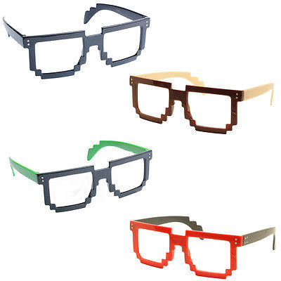 4X Classic Retro 8 Bit Pixel Geek Gamer Style Pixelated Glass Frame No Lens Set1