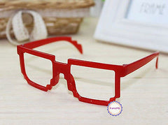 Retro Classic 8-Bit Pixel Geek Gamer Pixelated Glass Frame for Kids 3-12 NO LENS