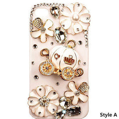 Elegant 3D Luxury Bling Crystal Cinderella's Pumpkin Wagon Case For iPhone 4S /4
