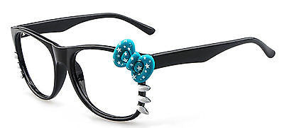Blue Bow Tie Costume Glass Frame Girls Lady Cat Eyes Clear Lens Sunglass Eyewear
