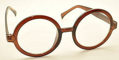 Brown Vintage Geek Nerd Style Clear Lens Glasses Frames Wizard Round Eyewear USA