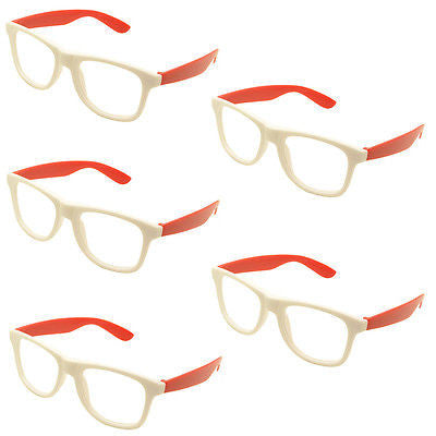 5 x Vintage Inspired Classic Retro Fashion Glass Frame No Lens White