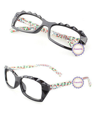 Color Dot Retro Classic Diamond Cut Fashion Glasses Frame Unisex Eyewear No Lens
