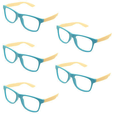 5 x Vintage Inspired Classic Retro Fashion Glass Frame No Lens Blue