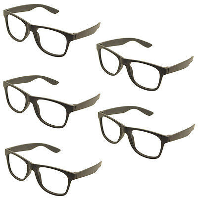 5 x Vintage Inspired Classic Retro Fashion Glass Frame No Lens Black
