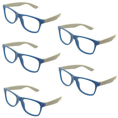 5 x Vintage Inspired Classic Retro Fashion Glass Frame No Lens Blue New