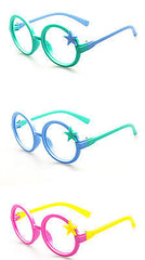 Nerd Classic Retro Round Wizard Style Glass Frame Fun Stars Eyewear for Kids