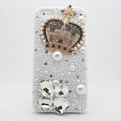 iPhone 5S 5 Case 3D Diamond Pearl Bling Crystal Luxury Rhinestone Cover fit 4 4S
