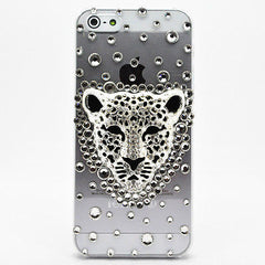 New iPhone 5S iPhone 5 Case Luxury Crystal Diamond Silver Bling Leopard Face